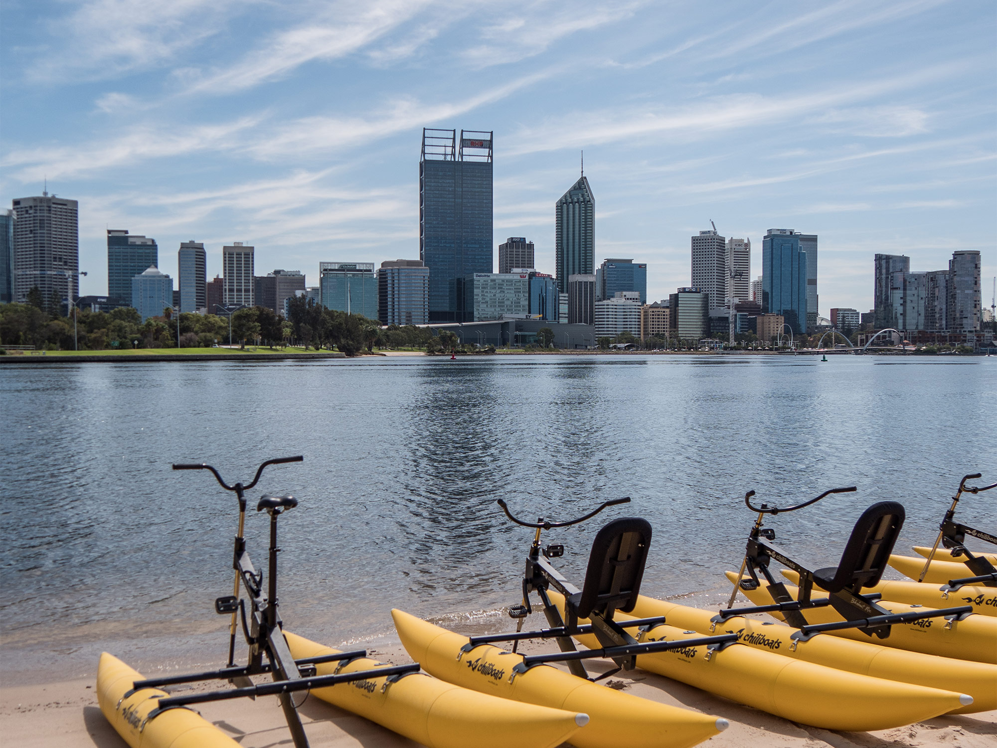 Perth skyline views from the Swan River - Perth Waterbike Co