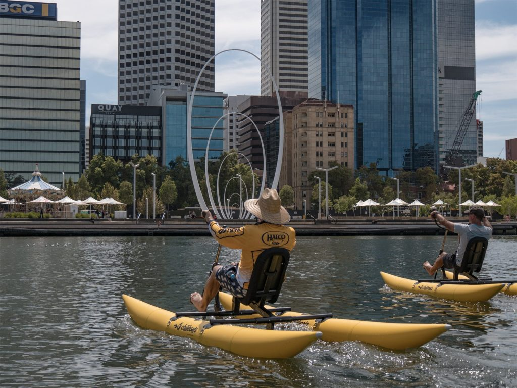 Waterbike adventures on the Swan River with friends